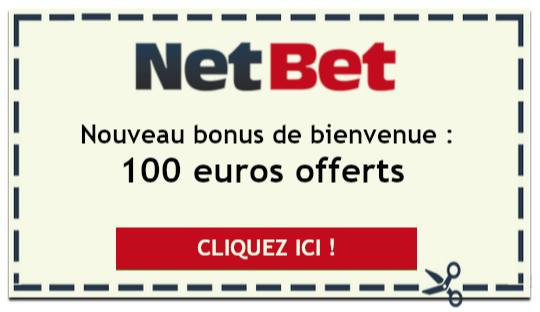 Offre spéciale Netbet : 100 euros offerts