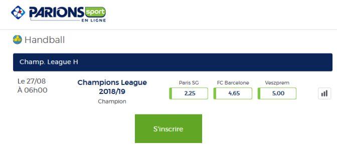 cotes Ligue des Champions handball sur Parions Sport en ligne