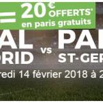 Bonus Parions Sport : 20€ de paris gratuits pour le match Real Madrid – PSG