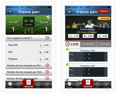 Application mobile France Pari pour paris sportifs