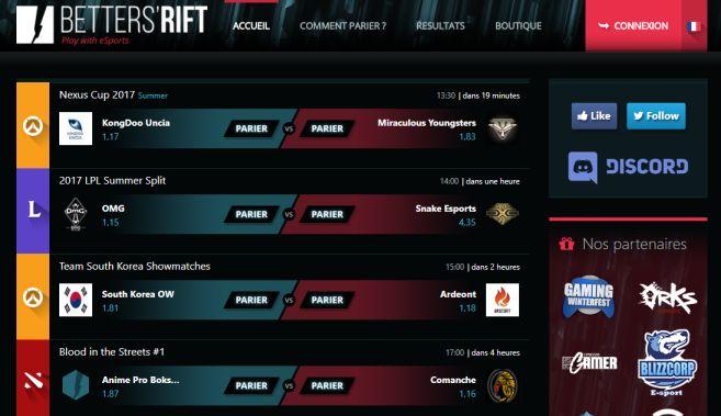 Betters'Rift pour parier sur l'eSport
