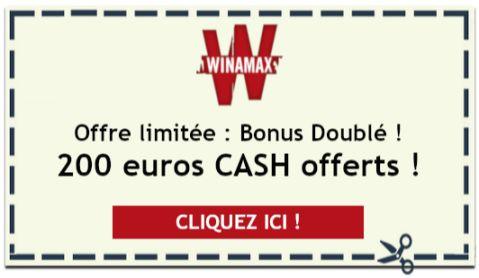 Bonus Winamax doublé : 200 euros cash offerts