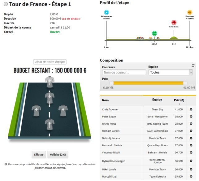 Jeu de l'entraineur Tour de France