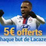 Match Lyon – Marseille: remportez un bonus à chaque but de Lacazette