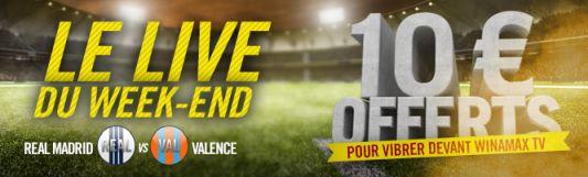 Live du weekend Winamax 10€ offerts