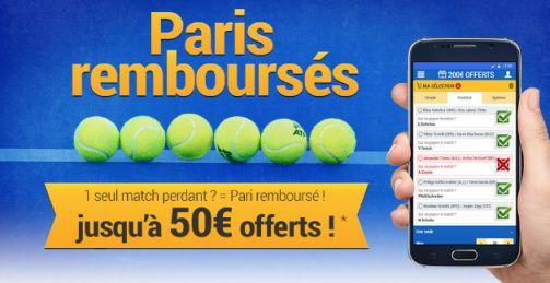 Offre paris remboursés tennis chez France Pari