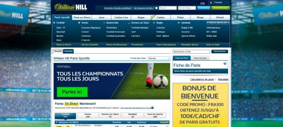 Paris sportifs William Hill