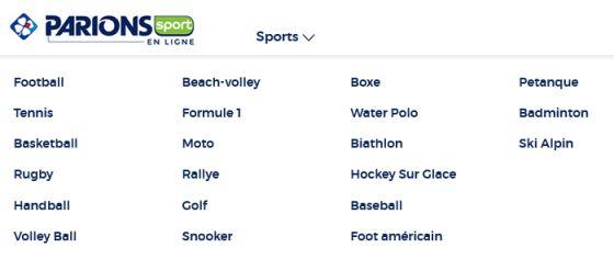Sports disponibles pour parier en ligne sur Parions Sport