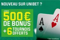 bonus de bienvenue Unibet Poker : jusqu'à 500€ offerts