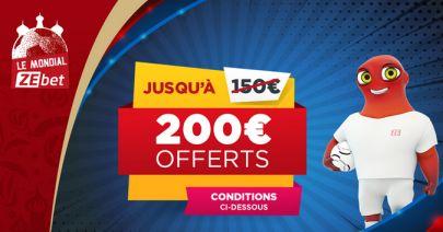 bonus zebet 200€ spécial Coupe du Monde